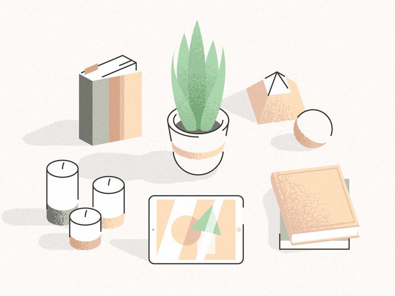 Plant, Books & Stuff light shadow shop candle deco book plant noise illustration grain