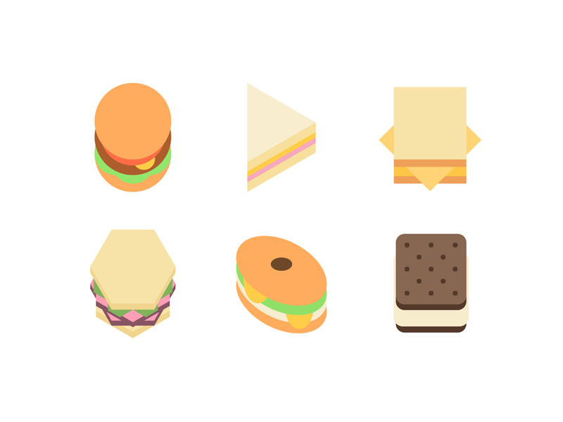Sandwiches are all about geometry pastrami flat hamburger burger ice cream grilled cheese food sandwich