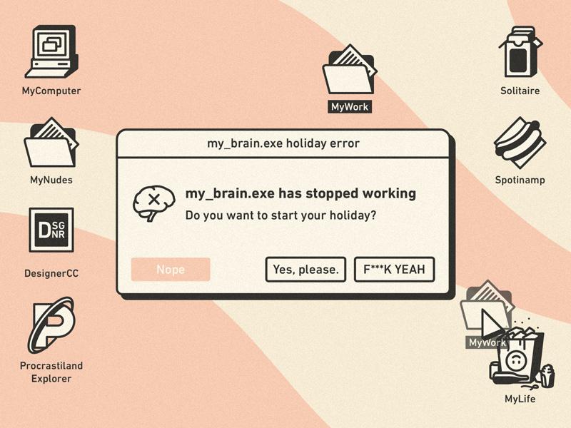 Holiday Error 🏝 error brain funny delete illustration work macintosh windows ui vintage retro holiday