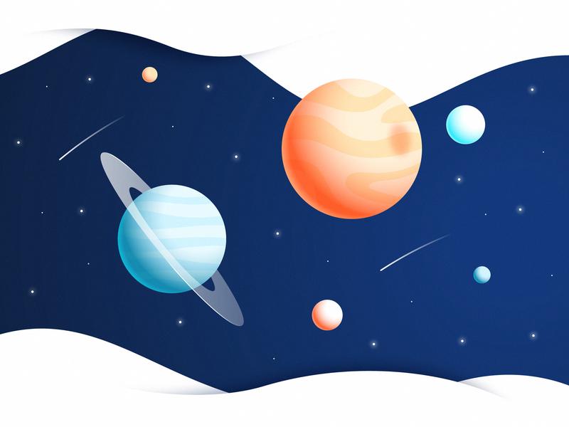Secret Space shadow light sphere asteroid comet circle stars illustration gradient universe planet