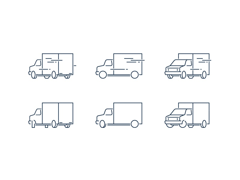 Truck perspective icon pixel perfect simple perspective stroke turn turning transport vehicle moving truck