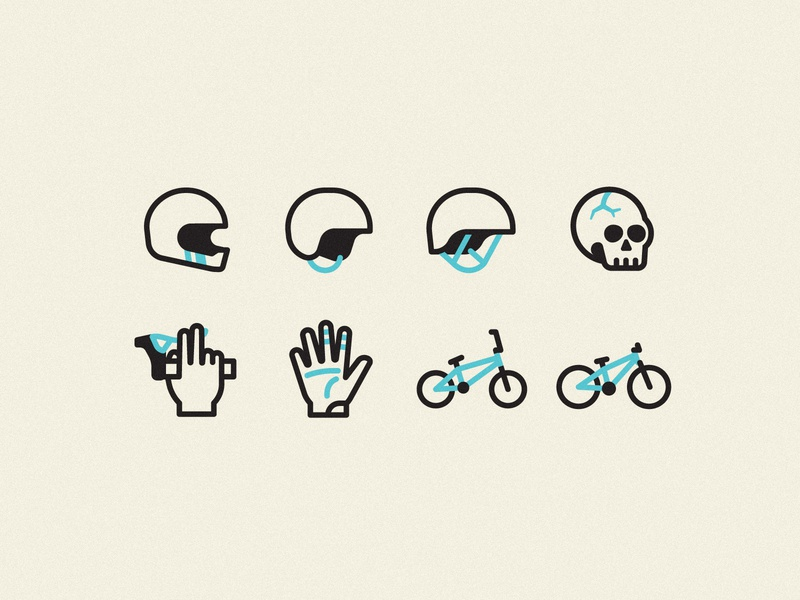 Dirt Jump Park Iconography iconography icons illustration line hand glove skull bmx bicycle sport protection helmet sign