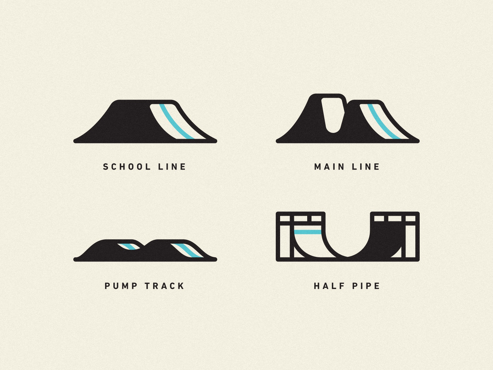 Dirt Jump Park Iconography half pipe icon bicycle bmx jump track line dirt