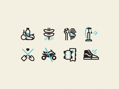 Dirt Jump Iconography tools shovel quad vans protection iconography icon bbq food bmx dirt bicycle