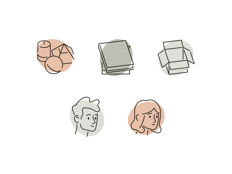 CTC Icons simple stroke line souvenir candle face book box iconography icons avatar woman man