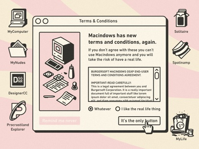New terms & conditions desktop computer sandwich food funny illustration ui vintage retro macintosh windows legal conditions terms