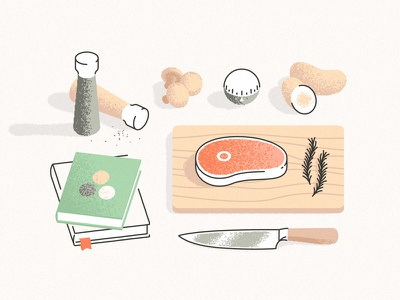 Foodie light shadow grain wood book knife table pepper salt potato meat beef chef food