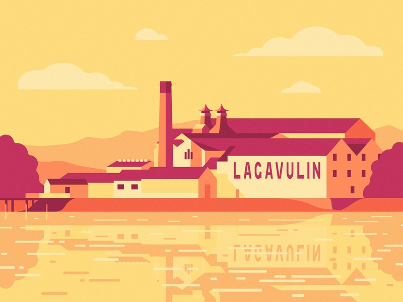 Lagavulin Distillery, please and thank you. parks and recreation clouds reflection water drink illustration sun light sunrise sunset flat factory building scotland scotch whisky distillery lagavulin