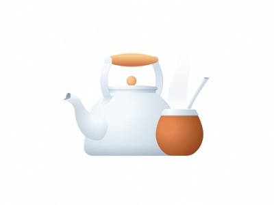 Mate! icon subtle tea kettkle sticker gradient illustration argentina mate