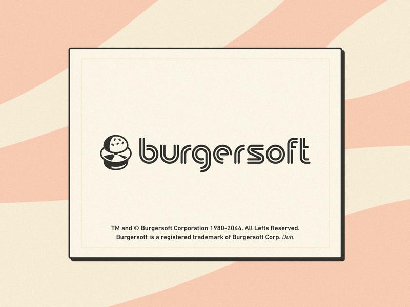 Burgersoft Corp. stroke illustration food hamburger bun funny apple mac macintosh microsoft windows typography types logo brand vintage retro disk cd burger