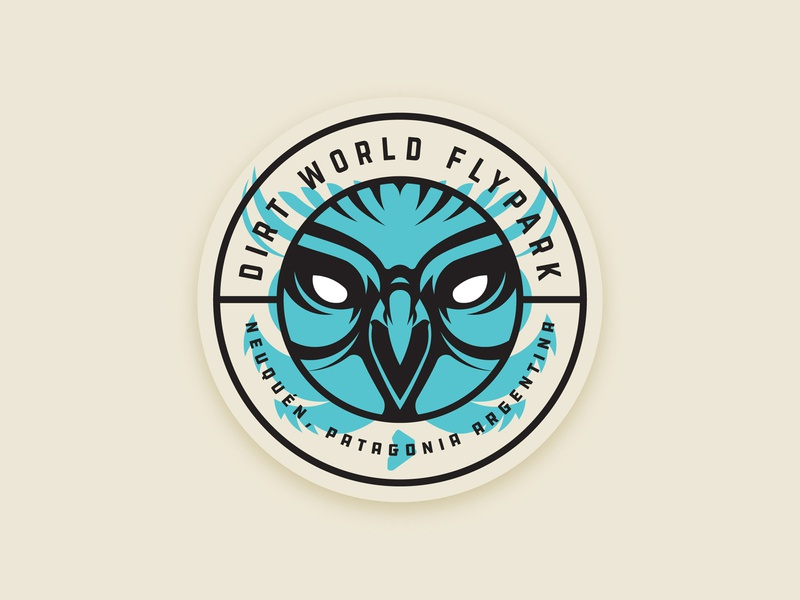 Dirt World Flypark Sticker circle geometric mascot logo sticker illustration face patagonia argentina dirt bike bmx sport badge owl
