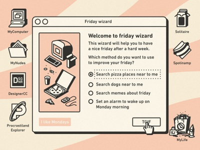 Welcome to friday wizard mac funny ipod food slice icon illustration ui ux vintage retro macintosh windows wizard pizza friday