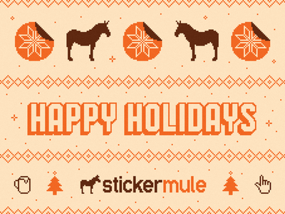 Happy Holidays! illustration lettering typography snow internet coffee sticker mule 8-bit pixel christmas sweater knit sticker holidays happy