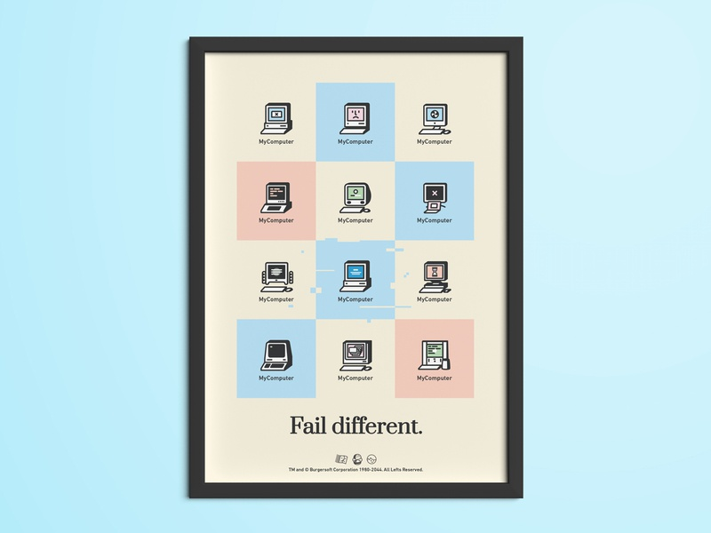 Fail Different - Free Poster funny illustration display fail error print freebie free poster frame desktop icons geek vintage retro windows macintosh computer