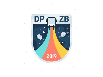 DPZB19 stars patch sticker cube pixel shield planet illustration logo brand mascot badge space