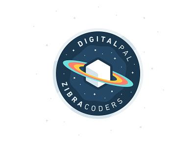 DigitalPal + Zibra Coders circle illustration cube patch galaxy square planet stars space badge