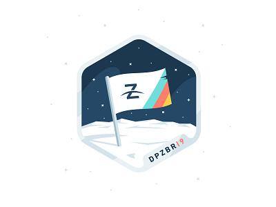 DPZBRI9 mountains planet sticker badge space stars exagon illustration brand flag logo moon flag