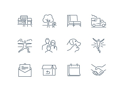 Pixel Perfect Icons iconography dog illustration line calendar hand chair family people pets cat dog truck pixel perfect icons house home backyard