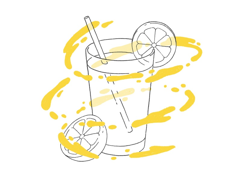 Lemonade with Procreate illustration food drops yellow liquid levitate glass brush procreate ipad pro fresh drink lemonade