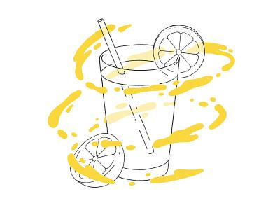 Lemonade with Procreate illustration food drops yellow liquid levitate glass brush procreate ipad pro fresh drink lemonade