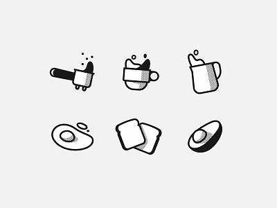 My morning routine illustration iconography icons line stroke retro vintage food toast avocado egg cup ground milk coffee