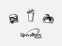 Up-n-Atom vintage retro gamer logo sauce food and drink fries food icnography icons grand theft auto gta los santos hamburger burger