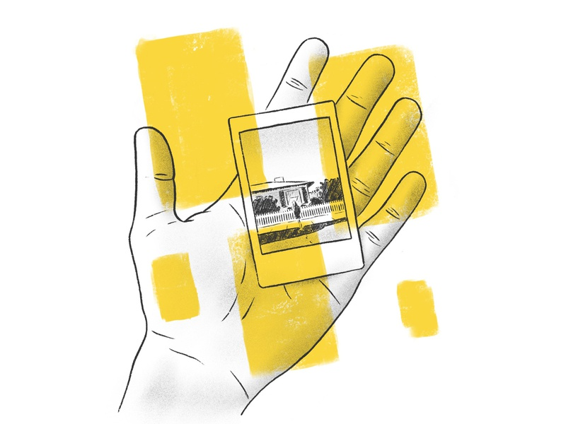 Memories man ipad pro illustration procreate nostalgia house woman hand photography photo instant film polaroid