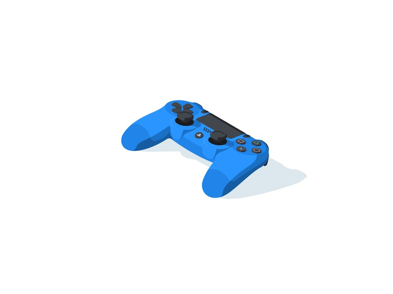Dualshock 4 ps4 icon illustration isometric blue video games gamer gamepad controller dualshock ps playstation