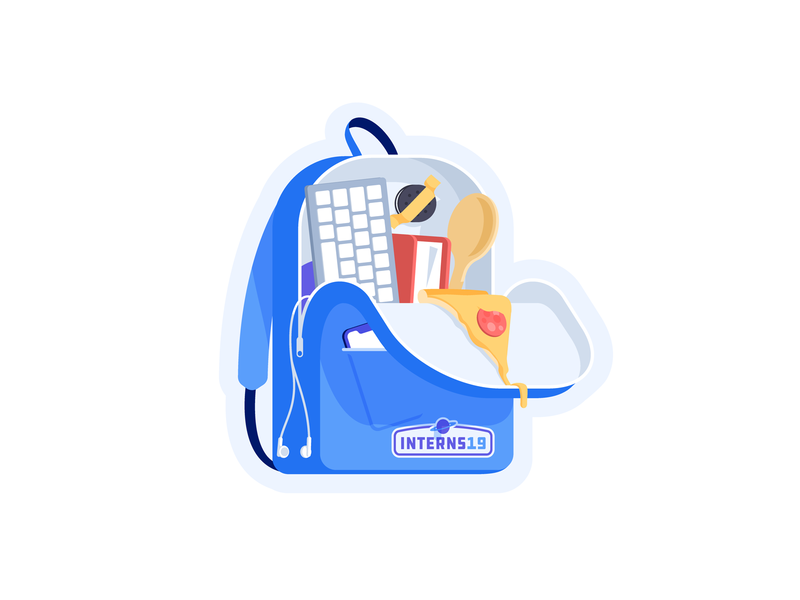 Interns 19 cheese pepperoni perspective flat illustration badge stickers keyboard cooking iphone phone internship intern food slice pizza backpack