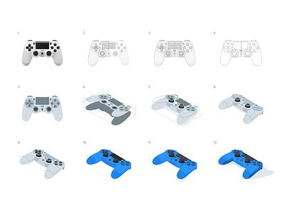 Dualshock 4: Isometric process light shadow icon illustration gamer gaming video games gamepad controller dualshock playstation isometric process