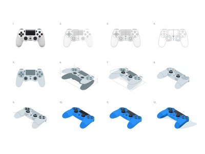 Dualshock 4: Isometric process light shadow icon illustration gamer gaming video games gamepad controller dualshock playstation isometric process