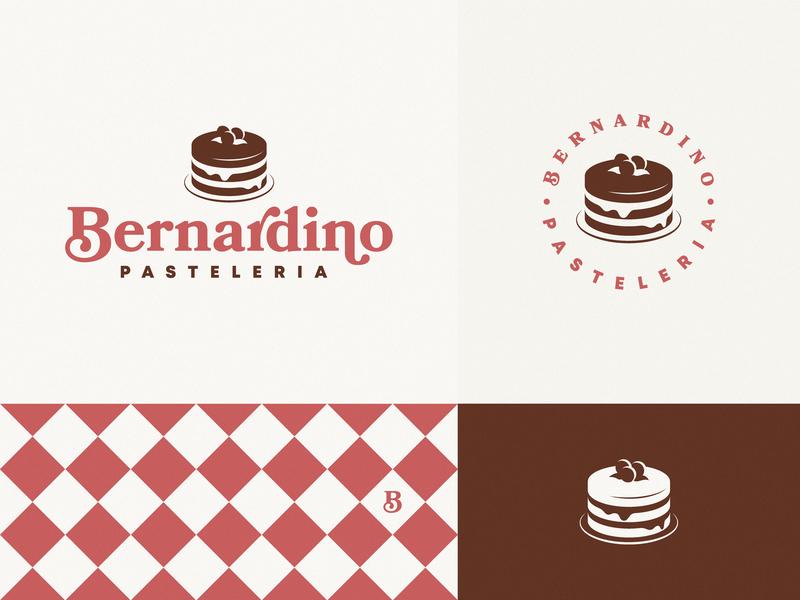 Bernardino Pastelería shop bakery argentina cakery iso food icon brand logo cake
