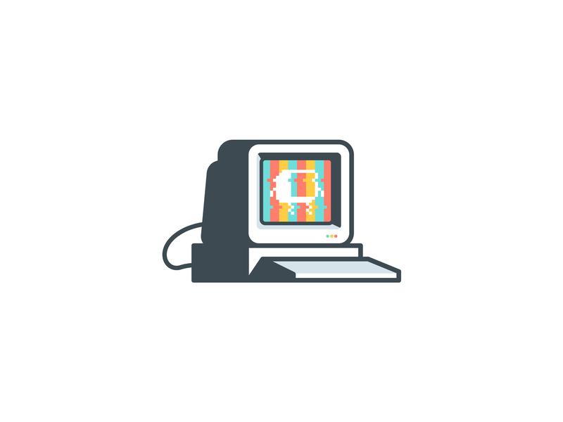 Pixelado icon illustration stroke shadow light brand logo pixel desktop desk vintage retro computer