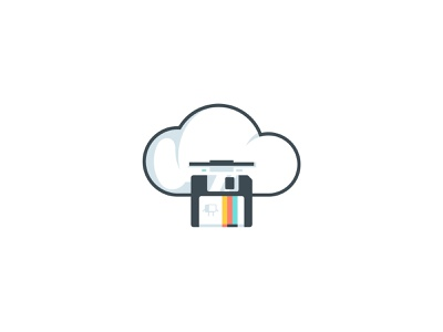 The cloud disk illustration icon saved computer vintage retro cloud save floppy diskette