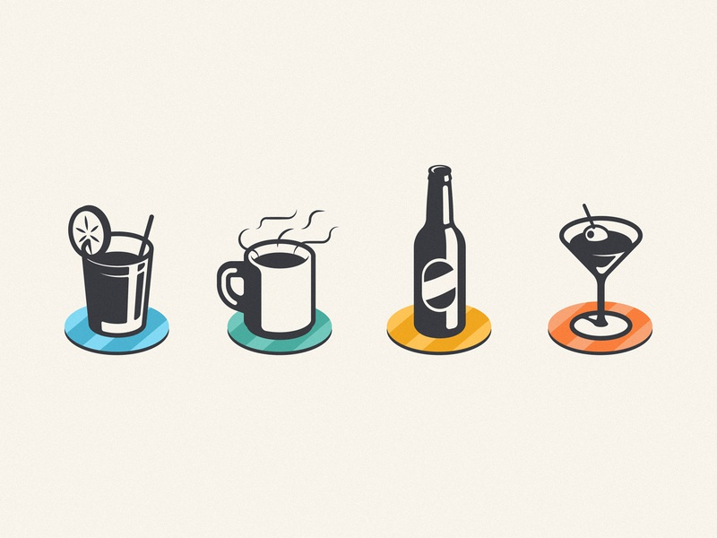 Drinks & Coasters illustration vintage retro light shadow iconography icon bottle beer cocktail martini fresh tea coffee drink coaster