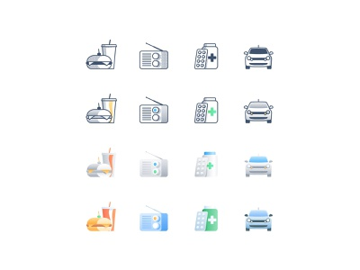 Iconography style exploration gradient illustration drink icons iconography car drugstore pharmacy drug radio fast food sandwich food