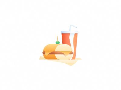 El Sanguche argentina simple cheese cup gradient illustration icon soda coke drink milanesa sandwich fast food