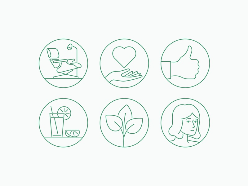 Circle Iconography simple illustration stroke green plant hands love heart lemonade drink woman iconography icons design eames