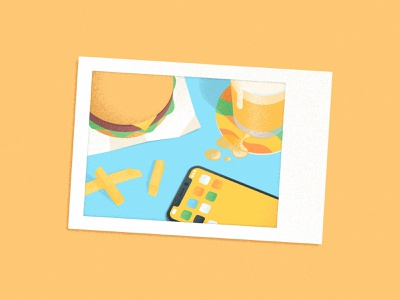 Instant Fast Food polaroid table sandwich illustration photography film instant noise grain coaster fries beer iphone hamburger burger fast food