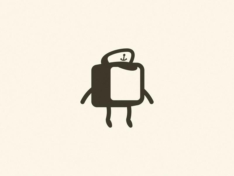 Ahoy cap'n sea brand pixel cube hat sail icon illustration character logo cap capitan