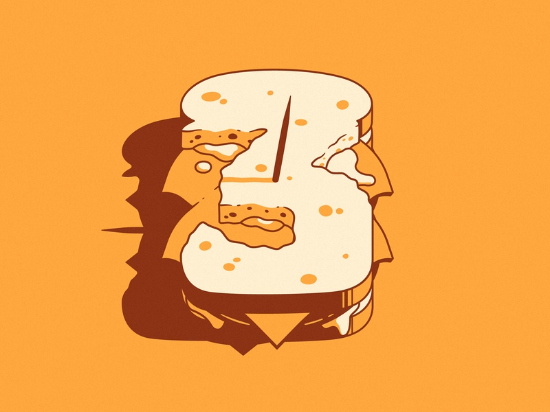 Marvel 3 marvel grilled cheese melt cheese bread perspective light shadow number 3 food sandwich