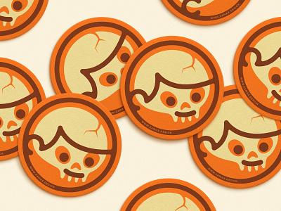 Coasteeeers stationary stationery boy circle head icon me personal designer logo brand skull coaster