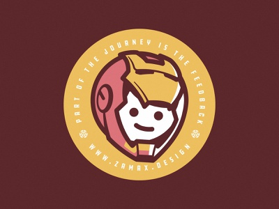 IronZam brand logo character hace head iron man avengers superhero helmet journey sticker badge illustration designer tony stark marvel ironman