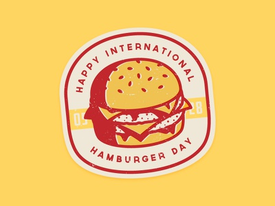 Happy International Hamburger Day! sandwich meat beef food icon badge cheese cheeseburger vintage retro sticker hamburger burger