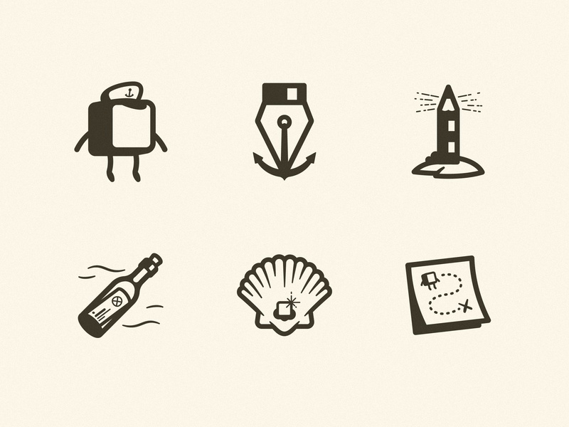 DP Academy Icons pixel stroke iconography ui ux pen anchor map bottle pearl shell illustration designer pencil lighthouse sea cap capn capitan