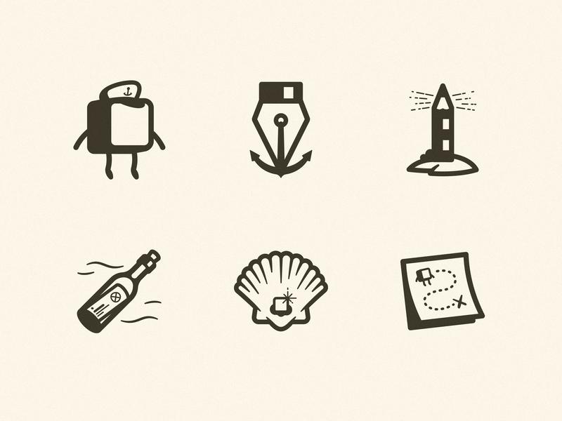 DP Academy Icons pixel stroke iconography ui ux pen anchor map bottle pearl shell illustration designer pencil lighthouse sea cap capn capitan