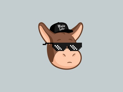 Mule Life meme mascot illustration head face design character funny cute animal mule sticker life thug