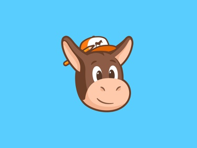 Herman is ready to work pencil illustration happy face brand logo cap head design character animal mule sticker herman