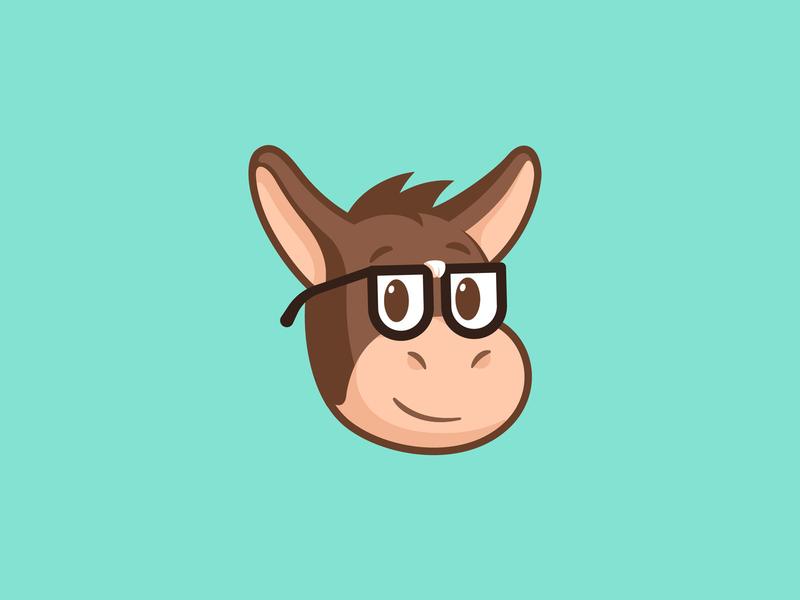 Nerd Herman glasses happy cute illustration face head design character animal mule sticker geek nerd