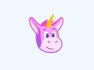 Unimule magic rainbow sticker mascot illustration design character happy face head unicorn mule